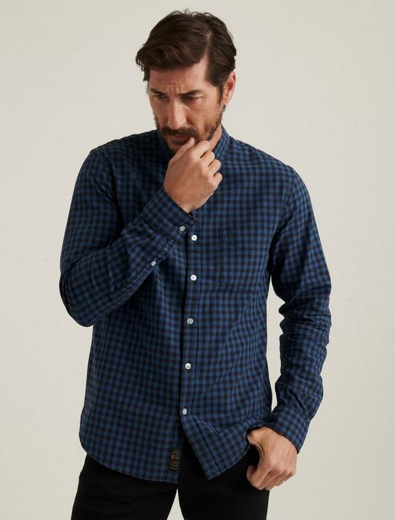 LONG SLEEVE 1 POCKET BALLONA SHIRT, BLUE PLAID, productTileDesktop