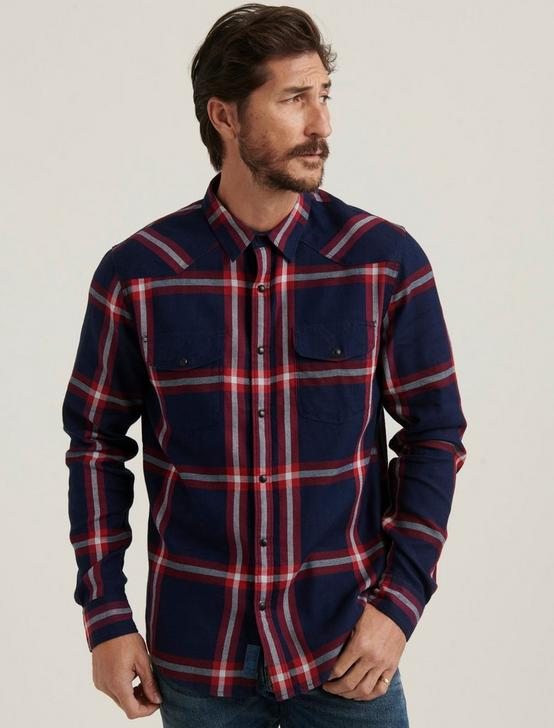 SANTA FE WESTERN SHIRT, BLUE PLAID, productTileDesktop