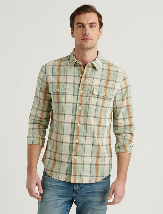 LINEN PALISADES WORKWEAR SHIRT, GREEN PLAID, productTileDesktop