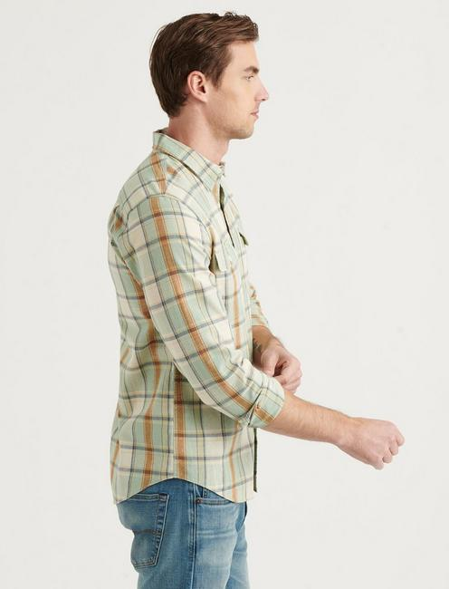 LINEN PALISADES WORKWEAR SHIRT, GREEN PLAID
