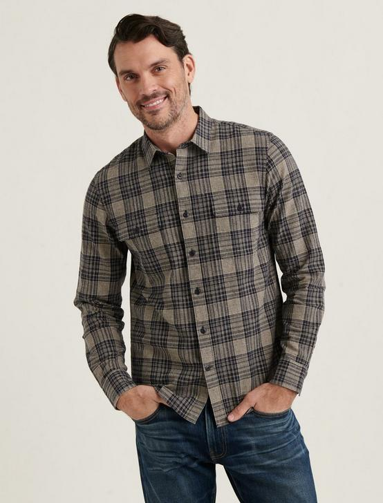 LINEN HUMBOLT WORKWEAR SHIRT, BLUE PLAID, productTileDesktop