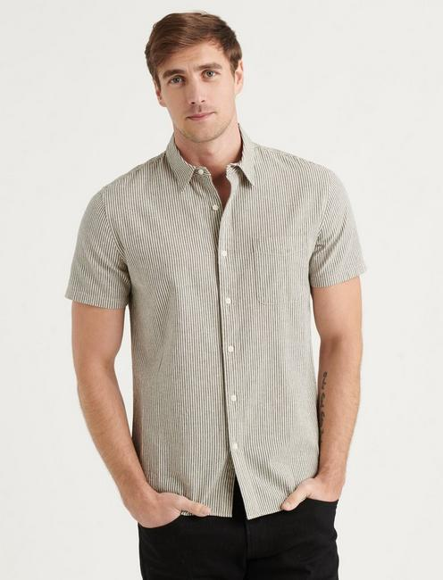 LINEN SHORT SLEEVE SAN GABRIEL SHIRT, BLACK STRIPE