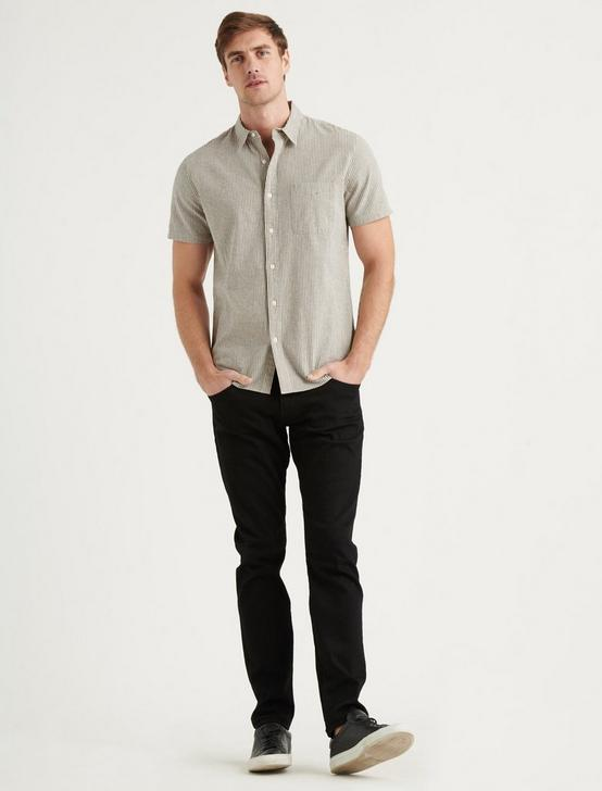 LINEN SHORT SLEEVE SAN GABRIEL SHIRT, BLACK STRIPE, productTileDesktop