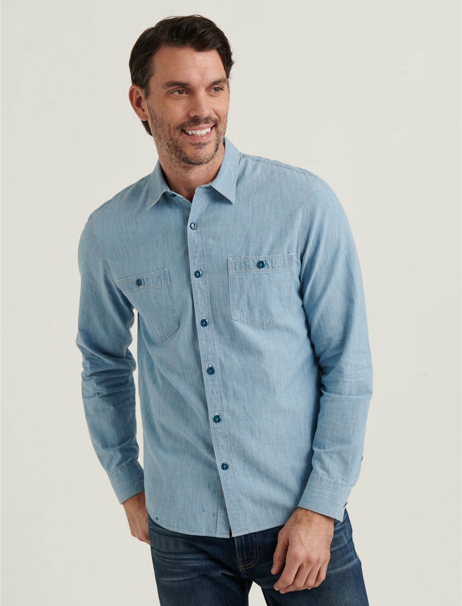Men's Vintage Workwear – 1920s, 1930s, 1940s, 1950s Lucky Brand Jaybird Workwear Shirt In Blue Size Small $19.98 AT vintagedancer.com