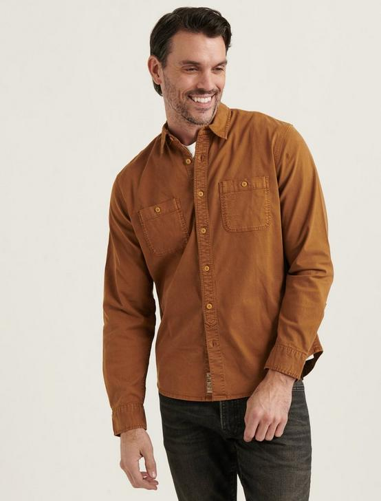 STRETCH TENCEL MASON WORKWEAR SHIRT, COPPER BROWN, productTileDesktop