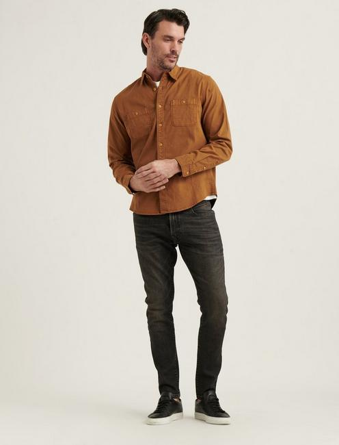 STRETCH TENCEL MASON WORKWEAR SHIRT, COPPER BROWN
