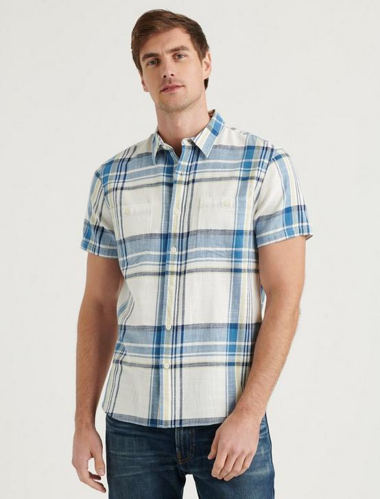 SHORT SLEEVE JAYBIRD SHIRT, BLUE PLAID, productTileDesktop