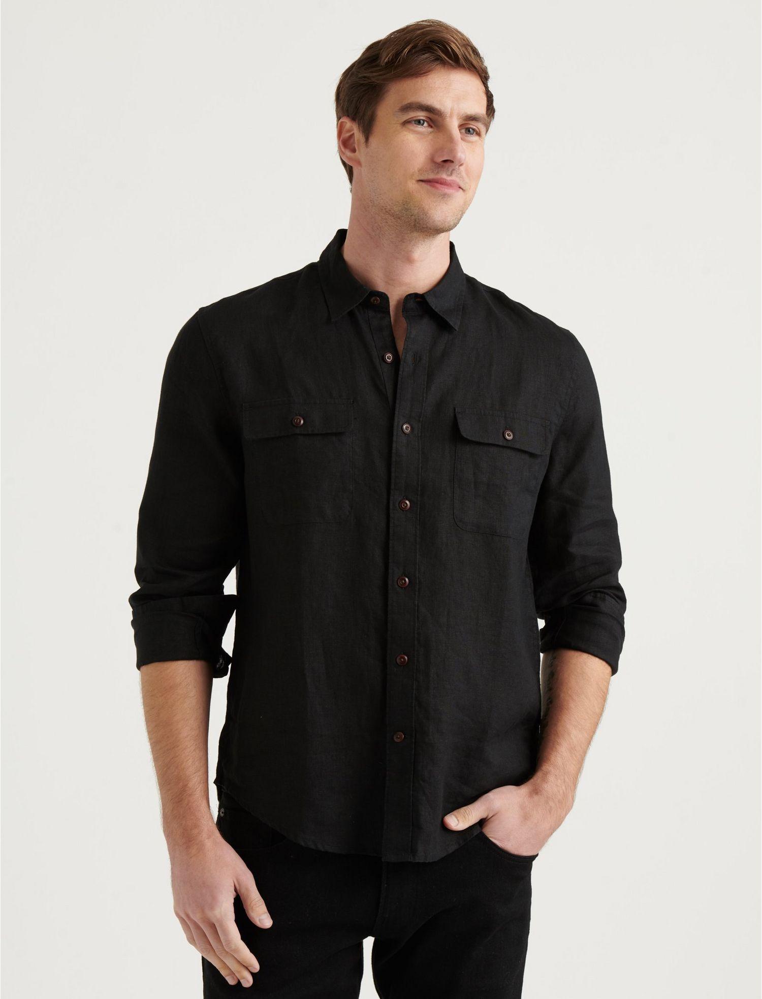 Men's Vintage Workwear – 1920s, 1930s, 1940s, 1950s Lucky Brand Linen Humboldt Workwear Shirt In Black Size Small $35.00 AT vintagedancer.com
