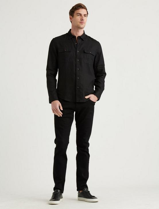 LINEN HUMBOLDT WORKWEAR SHIRT, #001 BLACK, productTileDesktop