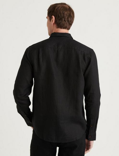 LINEN HUMBOLDT WORKWEAR SHIRT, #001 BLACK