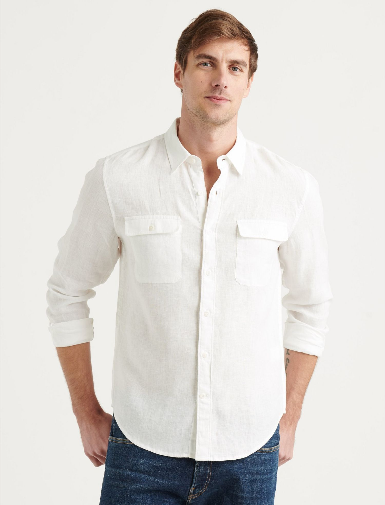Men's Vintage Workwear – 1920s, 1930s, 1940s, 1950s Lucky Brand Linen Humboldt Workwear Shirt In White Size Small $35.00 AT vintagedancer.com