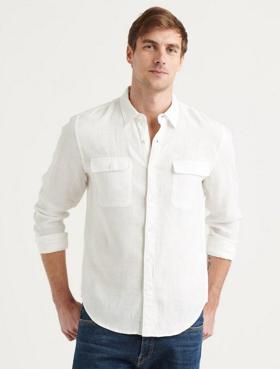 LINEN HUMBOLDT WORKWEAR SHIRT, WHITE, productTileDesktop