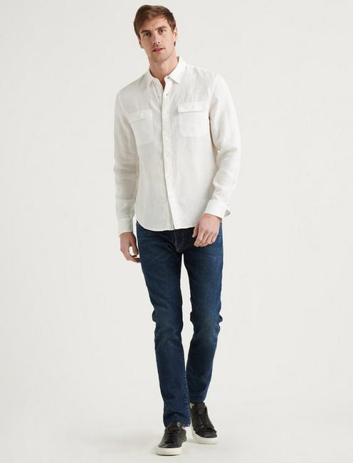 LINEN HUMBOLDT WORKWEAR SHIRT, WHITE