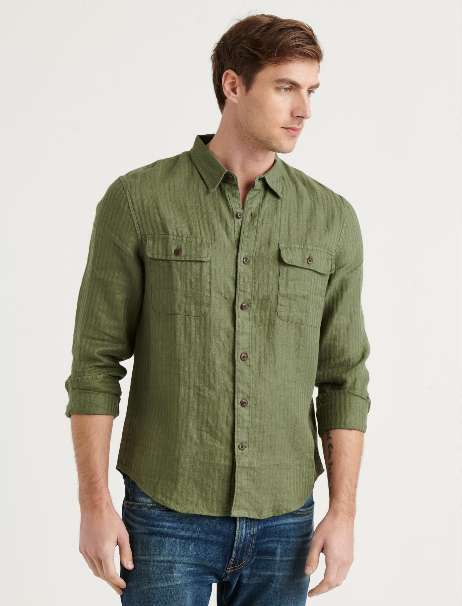 Mens Vintage Shirts – Retro Shirts Lucky Brand Linen Humboldt Workwear Shirt In Olive Size Small $35.00 AT vintagedancer.com
