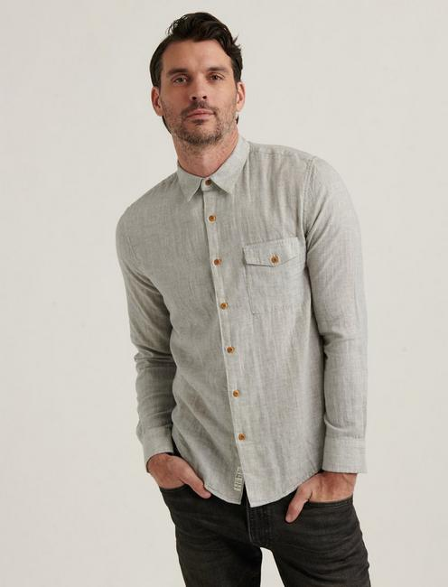 MONROE 1 POCKET SHIRT, HEATHER GREY