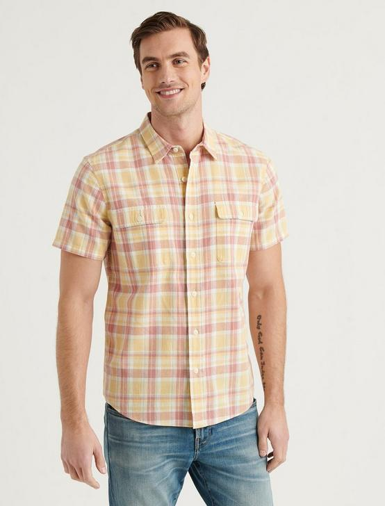 LINEN SHORT SLEEVE PALISADES WORKWEAR SHIRT, PINK PLAID, productTileDesktop