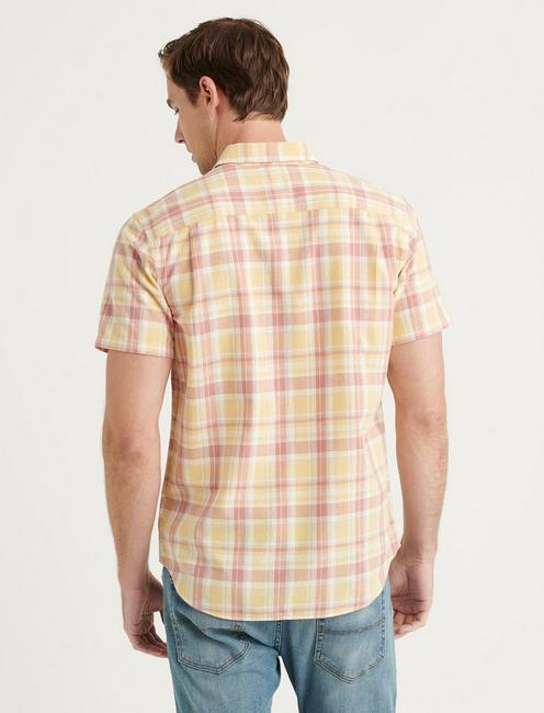 LINEN SHORT SLEEVE PALISADES WORKWEAR SHIRT, PINK PLAID