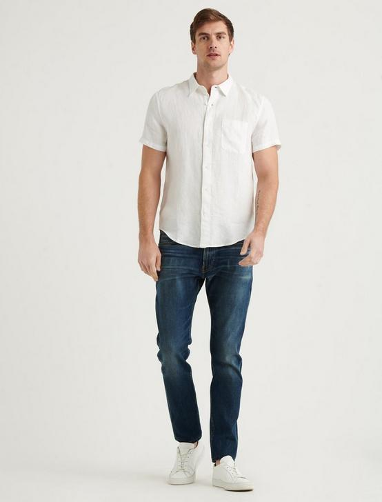 LINEN SHORT SLEEVE SAN GABRIEL SHIRT, WHITE, productTileDesktop