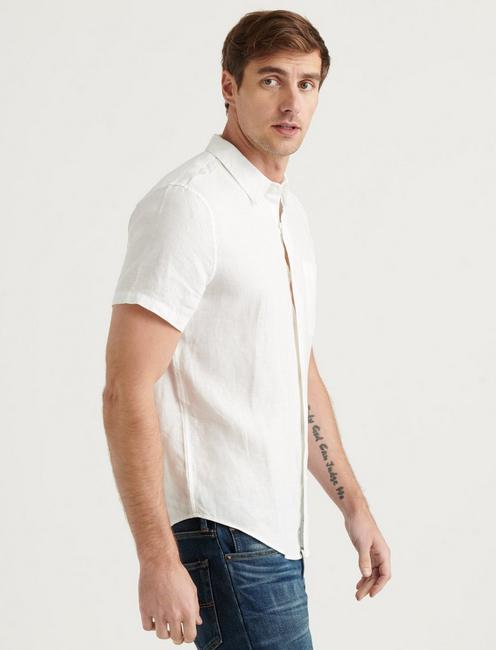 LINEN SHORT SLEEVE SAN GABRIEL SHIRT, WHITE