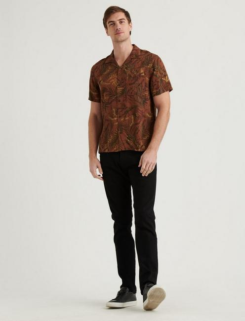 CLUB COLLAR SHIRT, BROWN PRINT