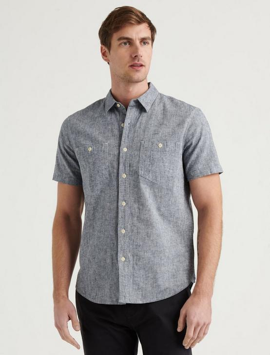 LINEN SHORT SLEEVE JAYBIRD SHIRT, CHAMBRAY, productTileDesktop