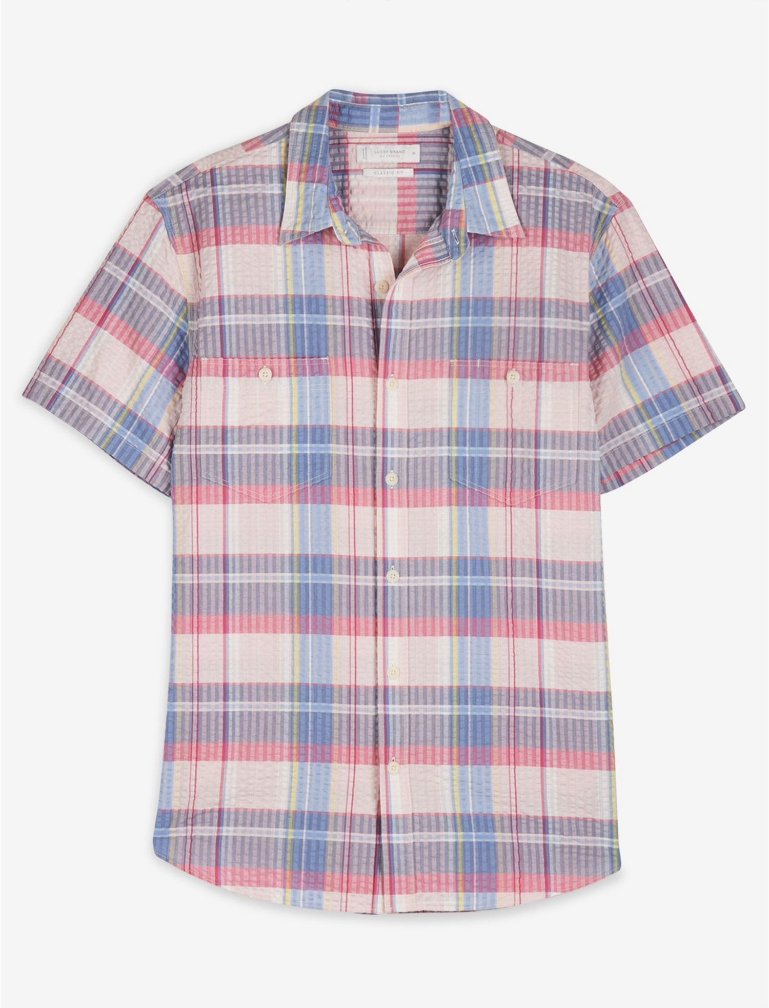1960s – 70s Mens Shirts- Disco Shirts, Hippie Shirts Lucky Brand Short Sleeve Jay Bird Workwear Shirt In Pink Plaid Size Small $35.00 AT vintagedancer.com
