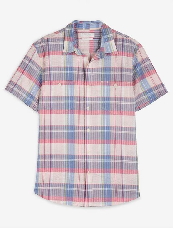 SHORT SLEEVE JAY BIRD WORKWEAR, PINK PLAID, productTileDesktop