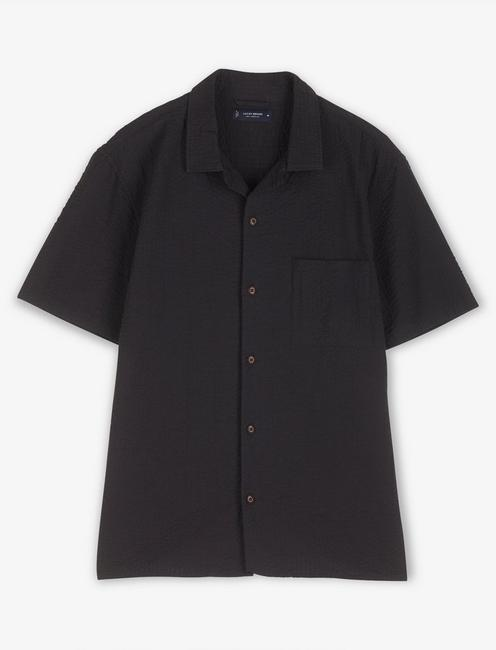 SHORT SLEEVE SEERSUCKER CLUB COLLAR, BLACK ONYX