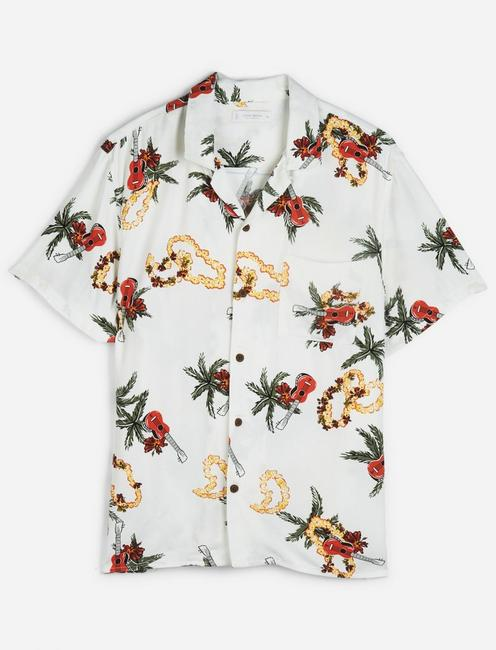 SHORT SLEEVE PRINTED CLUB COLLAR SHIRT,