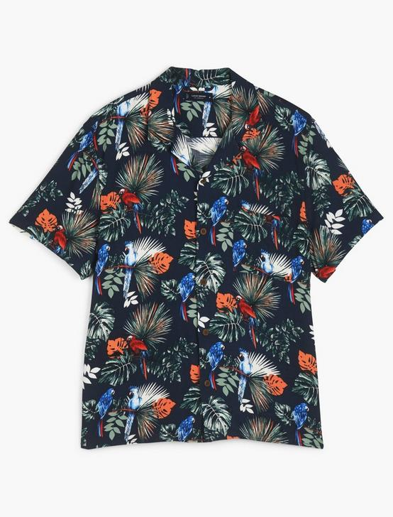 SHORT SLEEVE PRINTED CLUB COLLAR SHIRT, NAVY PRINT, productTileDesktop