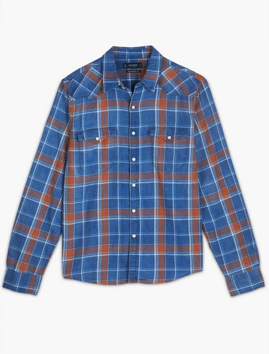 MESA WESTERN SHIRT, INDIGO/RED, productTileDesktop