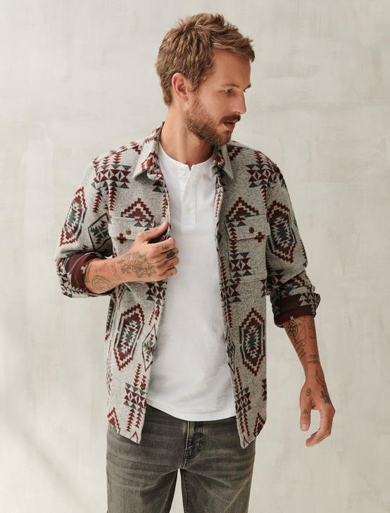 GREY JACQUARD SHIRT JACKET, GREY MULTI, productTileDesktop