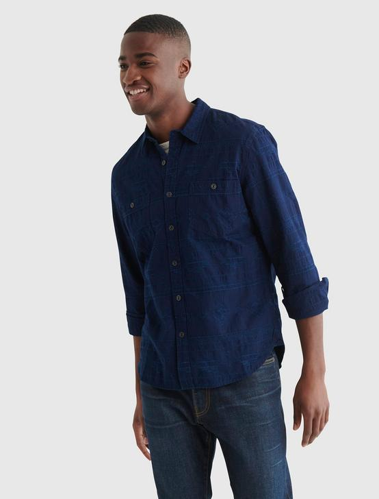 JAY BIRD JACQUARD WORKWEAR SHIRT, INDIGO MULTI, productTileDesktop