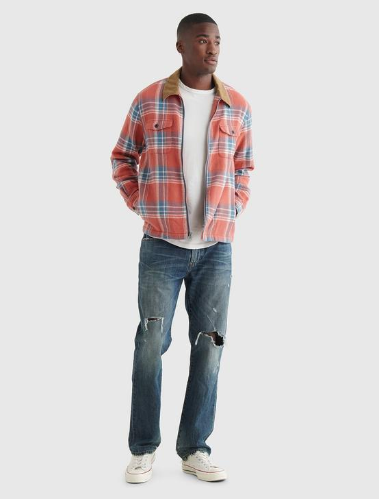ZIP FRONT PLAID SHIRT, RED PLAID, productTileDesktop