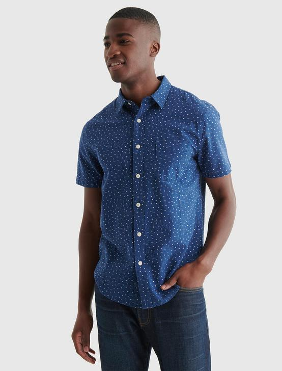 SHORT SLEEVE SAN GABRIEL LINEN SHIRT, BLUE PRINT, productTileDesktop