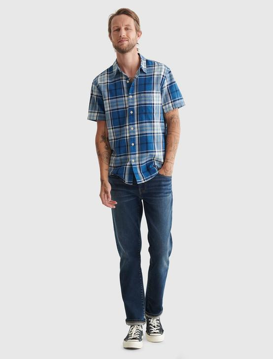 SHORT SLEEVE SAN GABRIEL PLAID SHIRT, BLUE PLAID, productTileDesktop