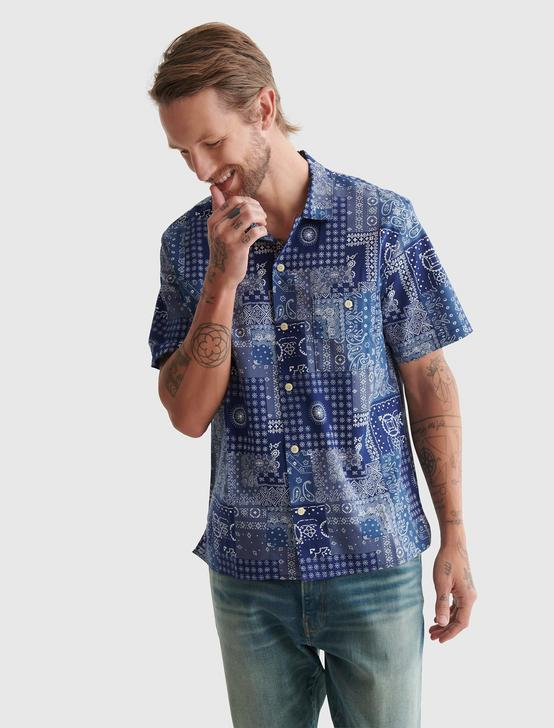 SHORT SLEEVE CLUB COLLAR SHIRT, BLUE PRINT, productTileDesktop