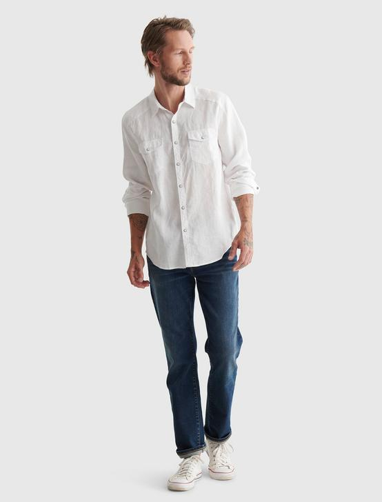 WESTERN LINEN SHIRT, BRIGHT WHITE, productTileDesktop