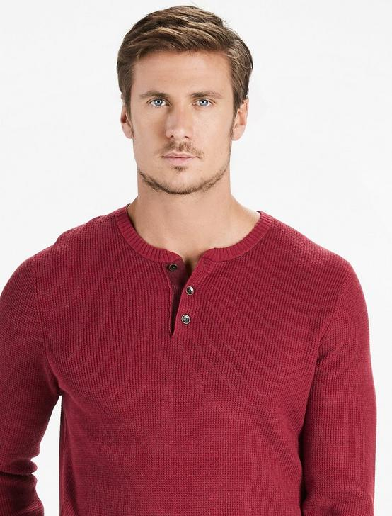COLORADO CROSS STITCH HENLEY, RED MULTI, productTileDesktop