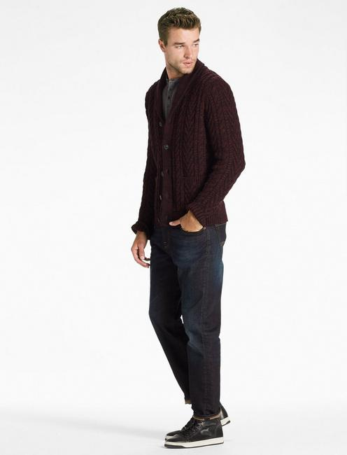 CABLE KNIT CARDIGAN, BURGUNDY