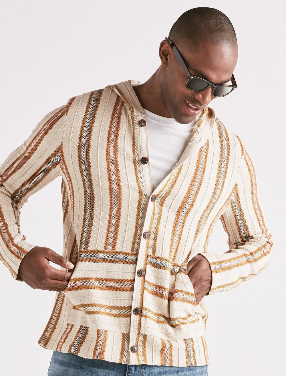 Vintage Shirts – Mens – Retro Shirts Lucky Brand Striped Baja Button Down Shirt Size Medium in Natural $42.00 AT vintagedancer.com