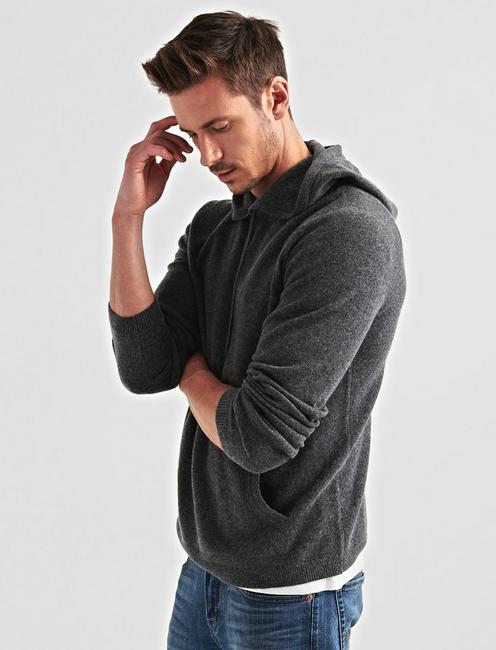 CASHMERE HOODIE, HEATHER CHARCOAL