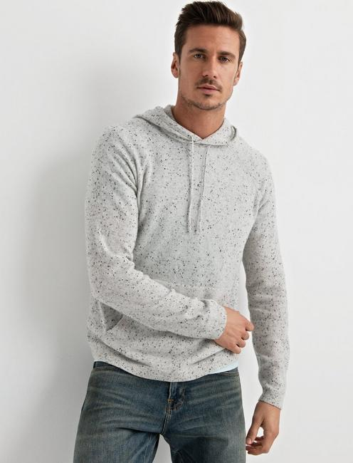 CASHMERE HOODIE, HEATHER GREY