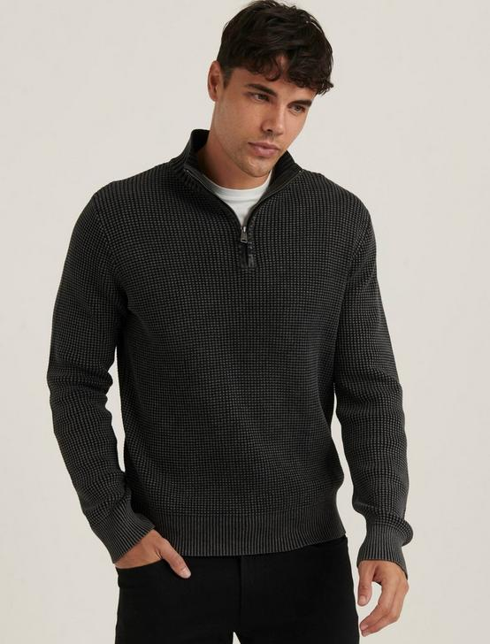 1/2 ZIP WASHED COTTON MOCK NECK, JET BLACK, productTileDesktop