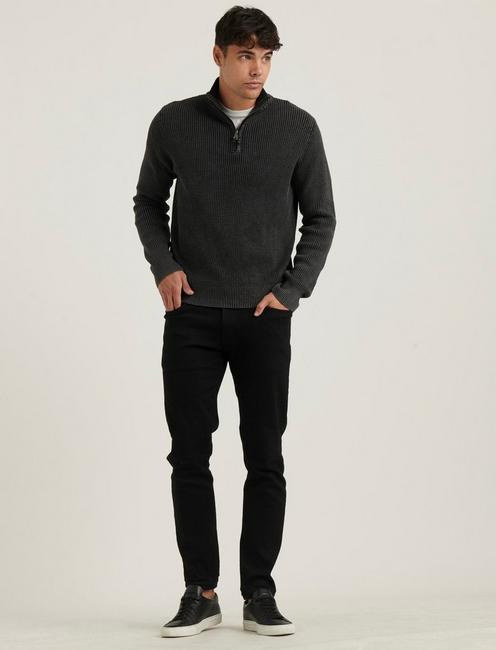1/2 ZIPPED WASHED COTTON MOCK, JET BLACK