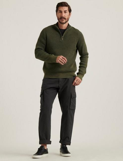 1/2 ZIPPED WASHED COTTON MOCK, DEEP FOREST