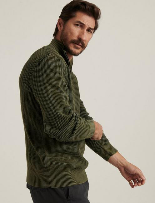 1/2 ZIP WASHED COTTON MOCK NECK, DEEP FOREST