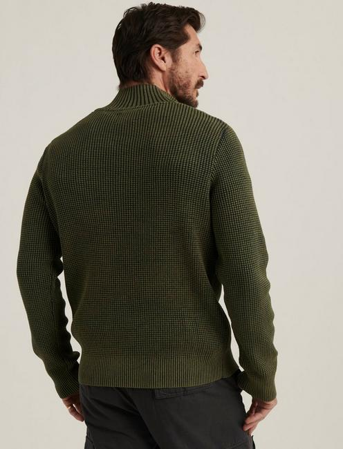 1/2 ZIPPED WASHED COTTON MOCK NECK, DEEP FOREST