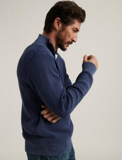 1/2 ZIPPED WASHED COTTON MOCK, MEDIEVAL BLUE