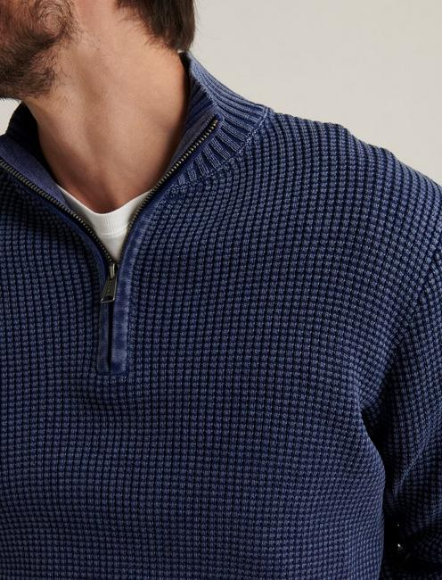 1/2 ZIPPED WASHED COTTON MOCK NECK, MEDIEVAL BLUE